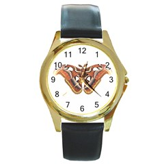 Butterfly Animal Insect Isolated Round Gold Metal Watch