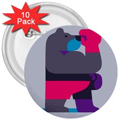 Strong Bear Animals Boxing Red Purple Grey 3  Buttons (10 Pack)  by Alisyart