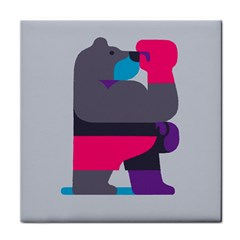 Strong Bear Animals Boxing Red Purple Grey Face Towel by Alisyart