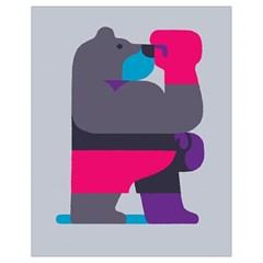 Strong Bear Animals Boxing Red Purple Grey Drawstring Bag (small) by Alisyart