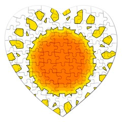 Sun Hot Orange Yrllow Light Jigsaw Puzzle (heart) by Alisyart