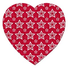 Star Red White Line Space Jigsaw Puzzle (heart) by Alisyart