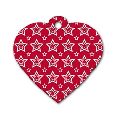 Star Red White Line Space Dog Tag Heart (one Side) by Alisyart