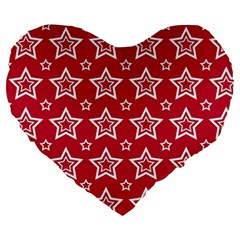 Star Red White Line Space Large 19  Premium Flano Heart Shape Cushions by Alisyart