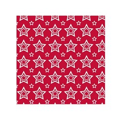Star Red White Line Space Small Satin Scarf (square) by Alisyart