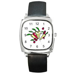 Tomatoes Carrots Square Metal Watch by Alisyart