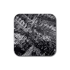 Fern Raindrops Spiderweb Cobweb Rubber Square Coaster (4 Pack)  by Simbadda