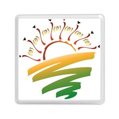 Sunset Spring Graphic Red Gold Orange Green Memory Card Reader (square)  by Alisyart