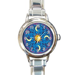 Sun Moon Star Space Purple Pink Blue Yellow Wave Round Italian Charm Watch by Alisyart