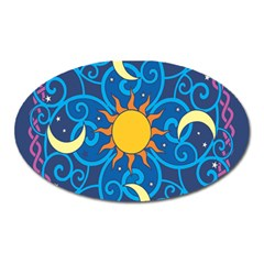 Sun Moon Star Space Purple Pink Blue Yellow Wave Oval Magnet by Alisyart