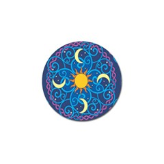 Sun Moon Star Space Purple Pink Blue Yellow Wave Golf Ball Marker by Alisyart