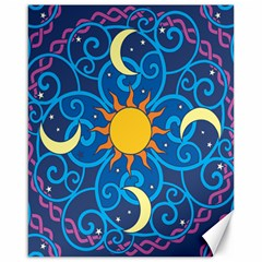 Sun Moon Star Space Purple Pink Blue Yellow Wave Canvas 16  X 20   by Alisyart