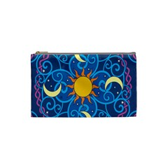 Sun Moon Star Space Purple Pink Blue Yellow Wave Cosmetic Bag (small)  by Alisyart