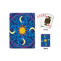 Sun Moon Star Space Purple Pink Blue Yellow Wave Playing Cards (mini)  by Alisyart