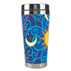 Sun Moon Star Space Purple Pink Blue Yellow Wave Stainless Steel Travel Tumblers by Alisyart