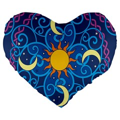 Sun Moon Star Space Purple Pink Blue Yellow Wave Large 19  Premium Flano Heart Shape Cushions by Alisyart
