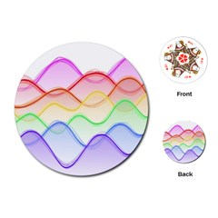 Twizzling Brain Waves Neon Wave Rainbow Color Pink Red Yellow Green Purple Blue Playing Cards (round)  by Alisyart