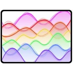 Twizzling Brain Waves Neon Wave Rainbow Color Pink Red Yellow Green Purple Blue Fleece Blanket (large)  by Alisyart