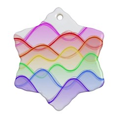 Twizzling Brain Waves Neon Wave Rainbow Color Pink Red Yellow Green Purple Blue Ornament (snowflake) by Alisyart