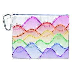 Twizzling Brain Waves Neon Wave Rainbow Color Pink Red Yellow Green Purple Blue Canvas Cosmetic Bag (xxl) by Alisyart