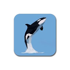 Whale Animals Sea Beach Blue Jump Illustrations Rubber Coaster (square)  by Alisyart