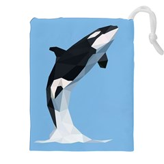 Whale Animals Sea Beach Blue Jump Illustrations Drawstring Pouches (xxl) by Alisyart