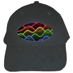 Twizzling Brain Waves Neon Wave Rainbow Color Pink Red Yellow Green Purple Blue Black Black Cap by Alisyart
