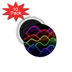Twizzling Brain Waves Neon Wave Rainbow Color Pink Red Yellow Green Purple Blue Black 1 75  Magnets (10 Pack)  by Alisyart