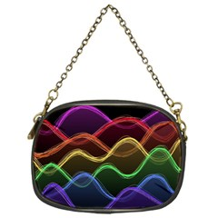 Twizzling Brain Waves Neon Wave Rainbow Color Pink Red Yellow Green Purple Blue Black Chain Purses (one Side)  by Alisyart