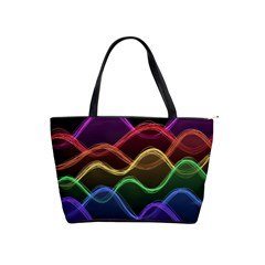 Twizzling Brain Waves Neon Wave Rainbow Color Pink Red Yellow Green Purple Blue Black Shoulder Handbags by Alisyart