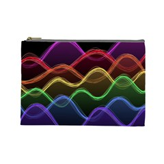 Twizzling Brain Waves Neon Wave Rainbow Color Pink Red Yellow Green Purple Blue Black Cosmetic Bag (large)  by Alisyart