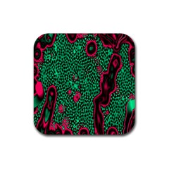 Reaction Diffusion Green Purple Rubber Square Coaster (4 Pack)  by Alisyart