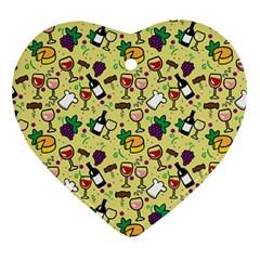 Wine Cheede Fruit Purple Yellow Ornament (heart) by Alisyart