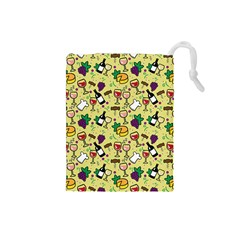 Wine Cheede Fruit Purple Yellow Drawstring Pouches (small)  by Alisyart