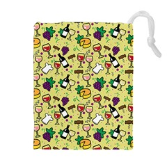 Wine Cheede Fruit Purple Yellow Drawstring Pouches (extra Large) by Alisyart