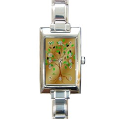 Tree Root Leaves Contour Outlines Rectangle Italian Charm Watch by Simbadda