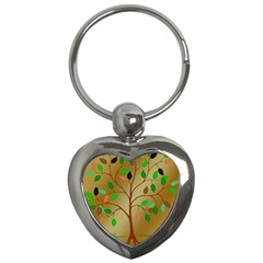 Tree Root Leaves Contour Outlines Key Chains (heart)  by Simbadda