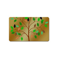Tree Root Leaves Contour Outlines Magnet (Name Card) by Simbadda