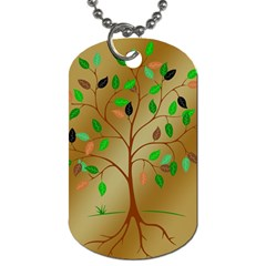 Tree Root Leaves Contour Outlines Dog Tag (one Side) by Simbadda