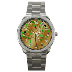 Tree Root Leaves Contour Outlines Sport Metal Watch by Simbadda