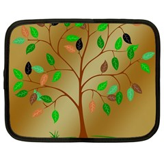 Tree Root Leaves Contour Outlines Netbook Case (large) by Simbadda