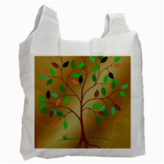 Tree Root Leaves Contour Outlines Recycle Bag (two Side)  by Simbadda