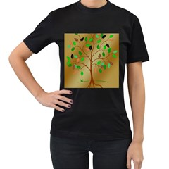 Tree Root Leaves Contour Outlines Women s T Shirt (black) by Simbadda