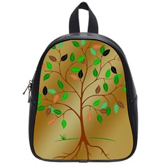 Tree Root Leaves Contour Outlines School Bags (small)  by Simbadda