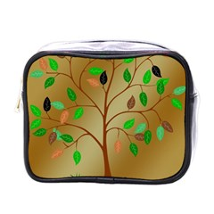 Tree Root Leaves Contour Outlines Mini Toiletries Bags by Simbadda