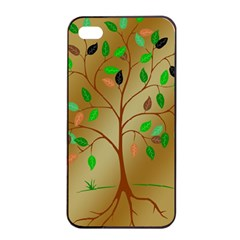 Tree Root Leaves Contour Outlines Apple iPhone 4/4s Seamless Case (Black)