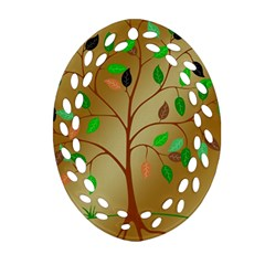 Tree Root Leaves Contour Outlines Oval Filigree Ornament (two Sides) by Simbadda