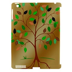 Tree Root Leaves Contour Outlines Apple Ipad 3/4 Hardshell Case (compatible With Smart Cover) by Simbadda