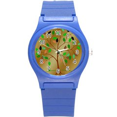 Tree Root Leaves Contour Outlines Round Plastic Sport Watch (s) by Simbadda