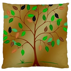 Tree Root Leaves Contour Outlines Large Cushion Case (two Sides) by Simbadda